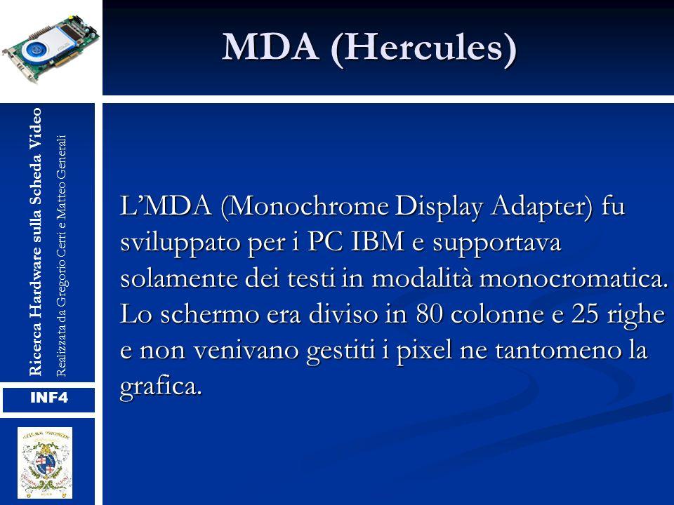 MDA (Hercules) LMDA (Monochrome Display Adapter) fu sviluppato per i PC IBM e supportava solamente dei testi in modalità monocromatica. Lo schermo era