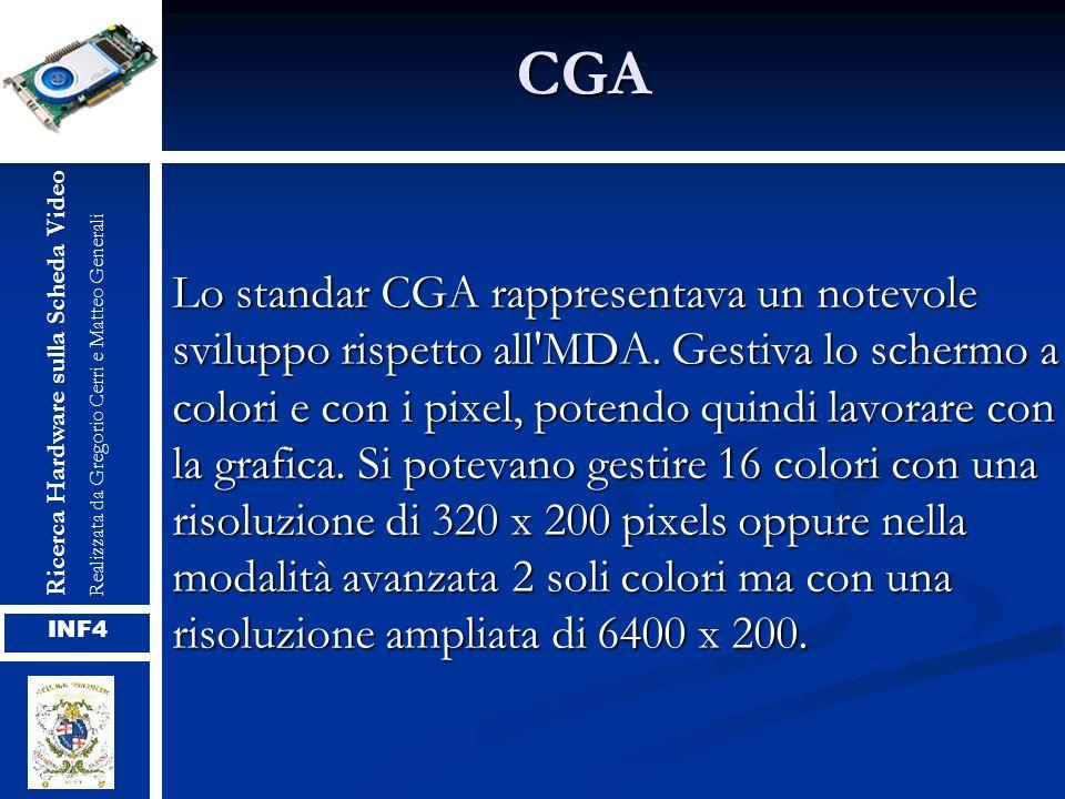 CGA Lo standar CGA rappresentava un notevole sviluppo rispetto all'MDA. Gestiva lo schermo a colori e con i pixel, potendo quindi lavorare con la graf