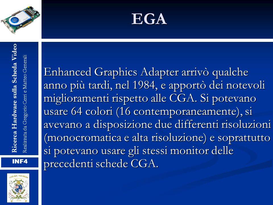 EGA Enhanced Graphics Adapter arrivò qualche anno più tardi, nel 1984, e apportò dei notevoli miglioramenti rispetto alle CGA. Si potevano usare 64 co