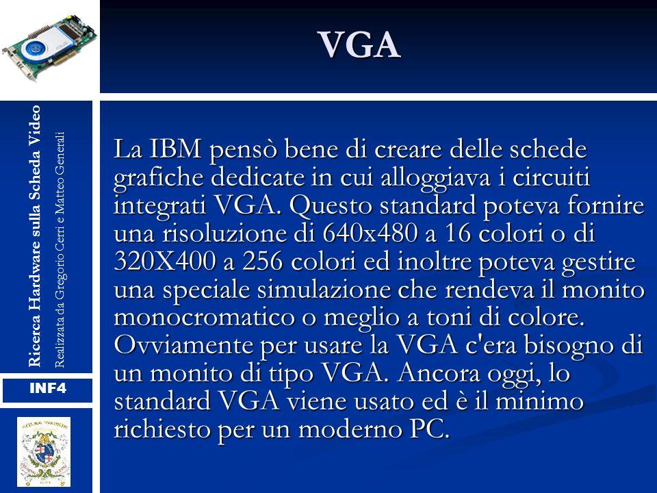 VGA La IBM pensò bene di creare delle schede grafiche dedicate in cui alloggiava i circuiti integrati VGA. Questo standard poteva fornire una risoluzi