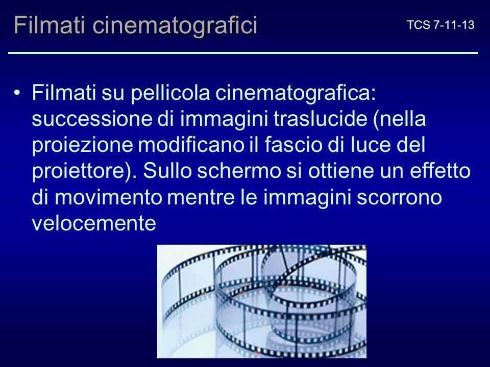 TCS 7-11-13 Filmati cinematografici Filmati su pellicola cinematografica: successione di immagini traslucide (nella proiezione modificano il fascio di luce del proiettore).