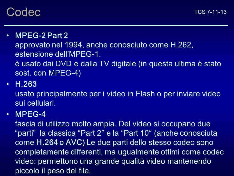 TCS 7-11-13Codec MPEG-2 Part 2 approvato nel 1994, anche conosciuto come H.262, estensione dellMPEG-1.