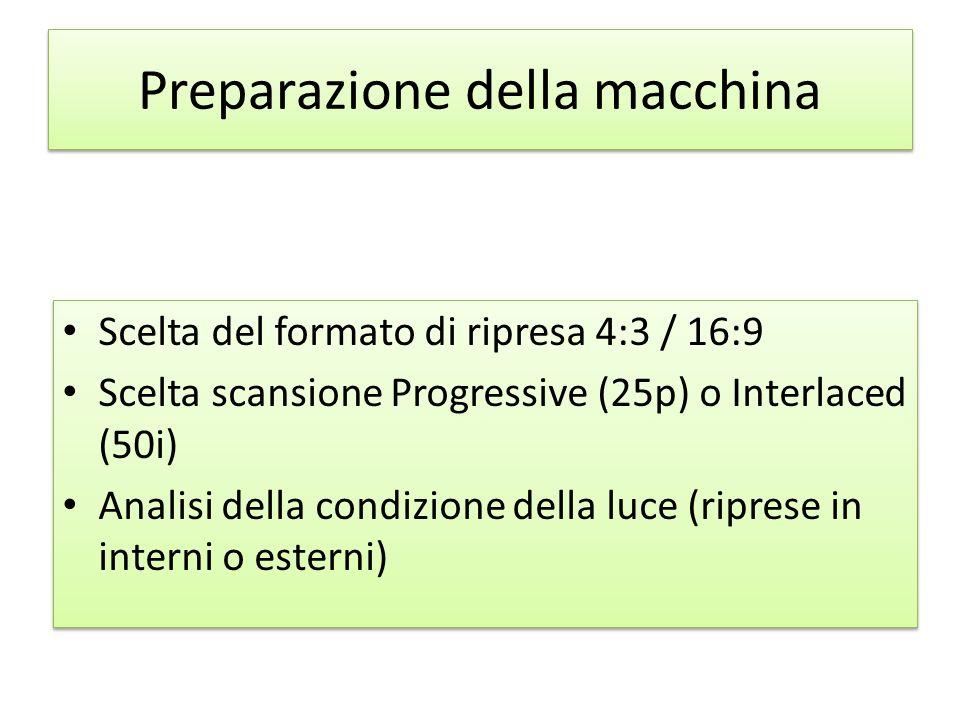 Preparazione della macchina Scelta del formato di ripresa 4:3 / 16:9 Scelta scansione Progressive (25p) o Interlaced (50i) Analisi della condizione de