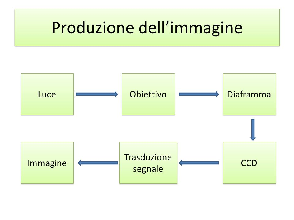Produzione dellimmagine Luce Obiettivo Diaframma CCD Trasduzione segnale Immagine