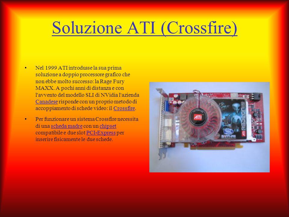 Soluzione ATI (Crossfire) Nel 1999 ATI introdusse la sua prima soluzione a doppio processore grafico che non ebbe molto successo: la Rage Fury MAXX. A