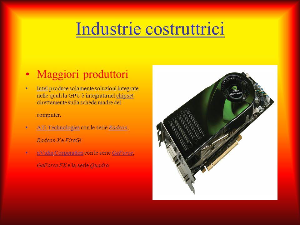 Industrie costruttrici Maggiori produttori Intel produce solamente soluzioni integrate nelle quali la GPU è integrata nel chipset direttamente sulla s