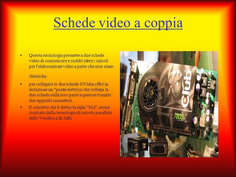 Schede video a coppia Questa tecnologia permette a due schede video di comunicare e suddividere i calcoli per l'elaborazione video a patto che esse si