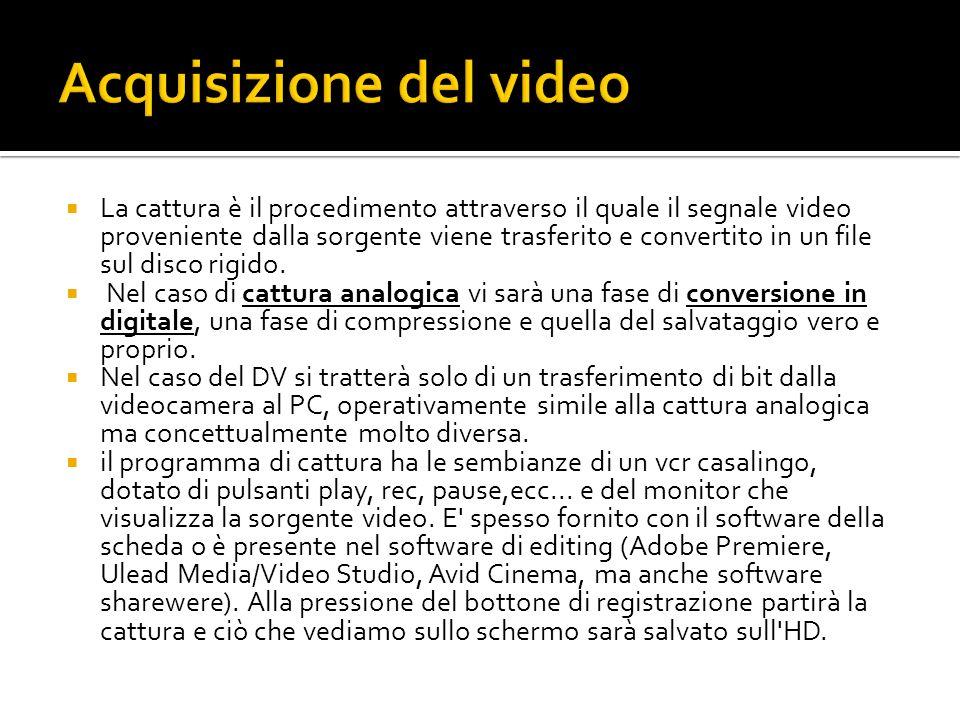 La cattura è il procedimento attraverso il quale il segnale video proveniente dalla sorgente viene trasferito e convertito in un file sul disco rigido.