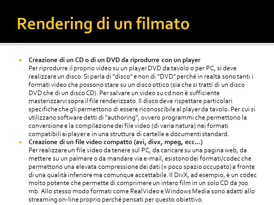 Creazione di un CD o di un DVD da riprodurre con un player Per riprodurre il proprio video su un player DVD da tavolo o per PC, si deve realizzare un disco.