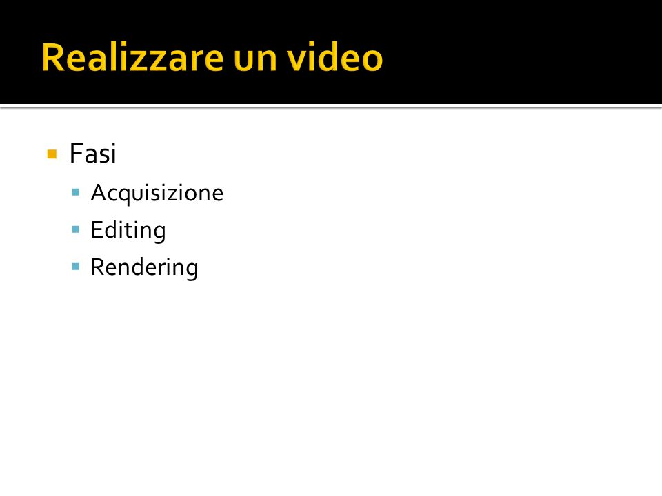 Fasi Acquisizione Editing Rendering