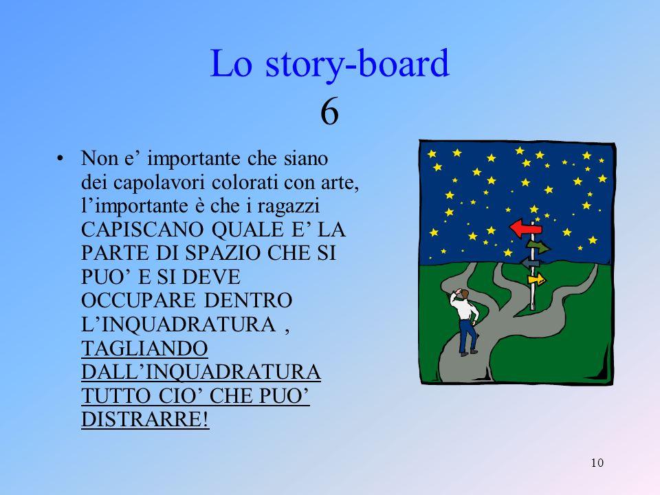 9 Lo story-board 5 A conclusione di questa prima fase vengono compilati da ciascun gruppo i modelli standard da me forniti riguardanti nellordine il soggetto, la sceneggiatura,lo storyboard e il pezzo giornalistico sullattività del gruppo.