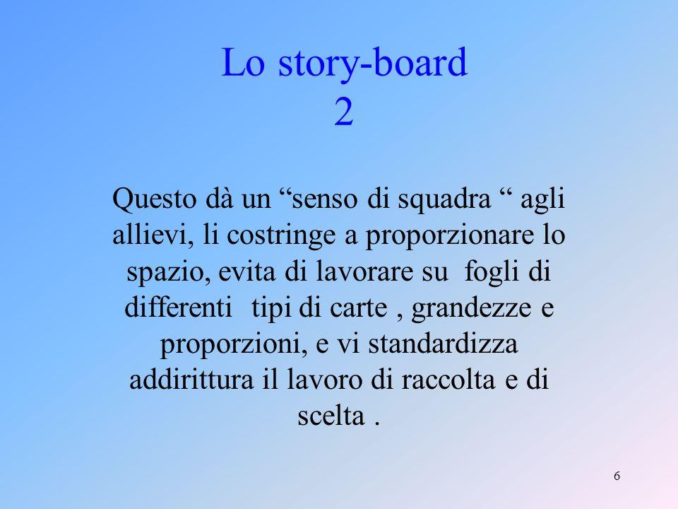 6 Lo story-board 2 Questo dà un senso di squadra agli allievi, li costringe a proporzionare lo spazio, evita di lavorare su fogli di differenti tipi di carte, grandezze e proporzioni, e vi standardizza addirittura il lavoro di raccolta e di scelta.