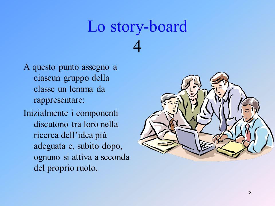 7 Lo story-board 3 Quando i ragazzi hanno compreso questi elementi basilari,allora si può iniziare a lavorare.