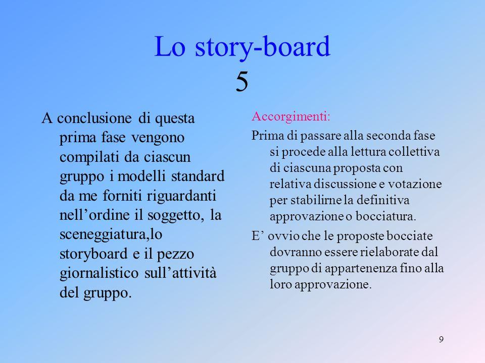 8 Lo story-board 4 A questo punto assegno a ciascun gruppo della classe un lemma da rappresentare: Inizialmente i componenti discutono tra loro nella ricerca dellidea più adeguata e, subito dopo, ognuno si attiva a seconda del proprio ruolo.