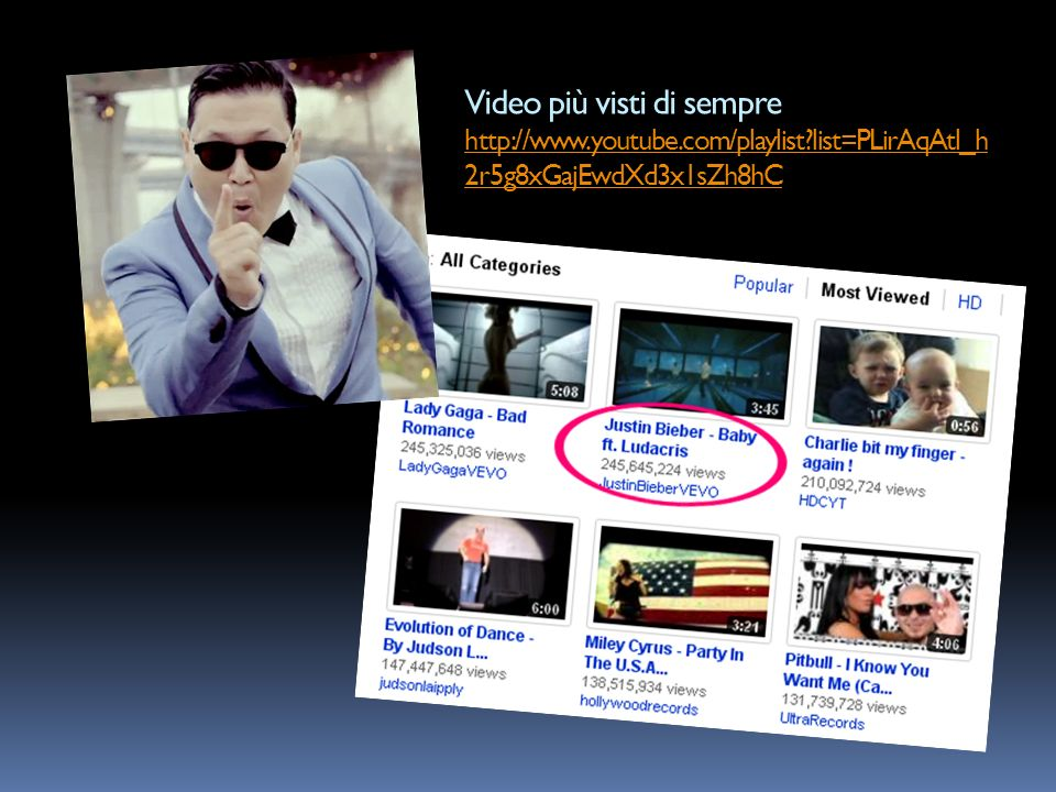Video più visti di sempre http://www.youtube.com/playlist?list=PLirAqAtl_h 2r5g8xGajEwdXd3x1sZh8hC http://www.youtube.com/playlist?list=PLirAqAtl_h 2r