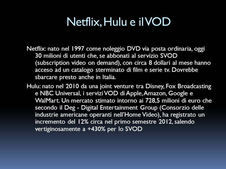 Netflix, Hulu e il VOD Netflix: nato nel 1997 come noleggio DVD via posta ordinaria, oggi 30 milioni di utenti che, se abbonati al servizio SVOD (subs