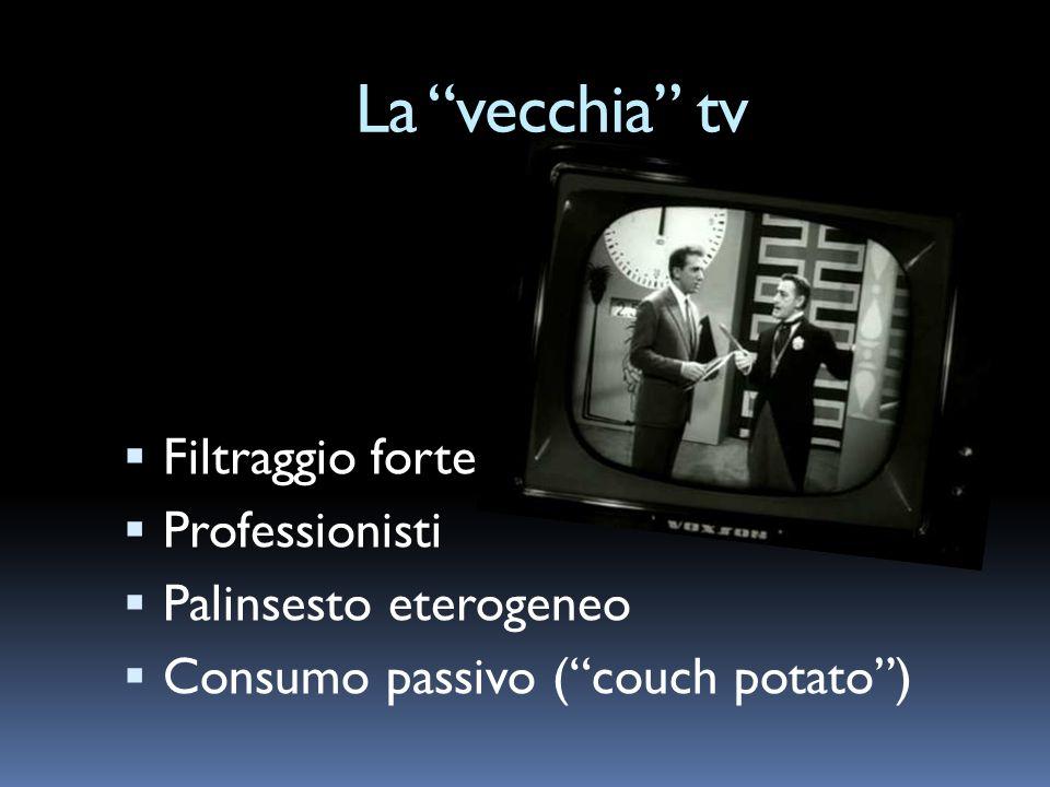 La vecchia tv Filtraggio forte Professionisti Palinsesto eterogeneo Consumo passivo (couch potato)