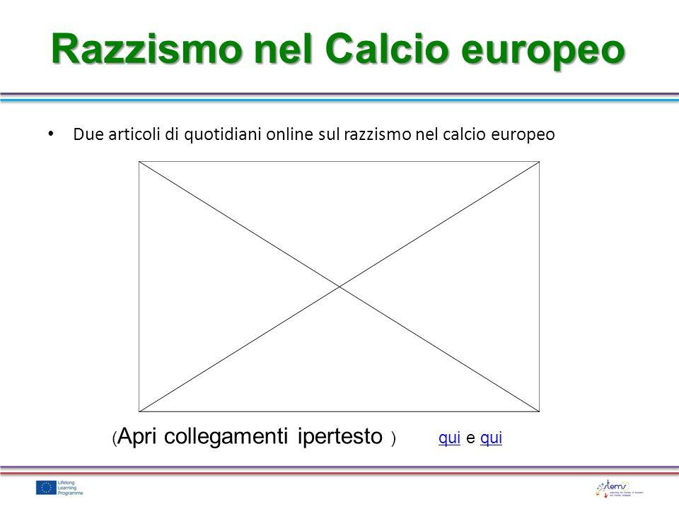 Razzismo nel Calcio europeo Due articoli di quotidiani online sul razzismo nel calcio europeo ( Apri collegamenti ipertesto ) qui e quiqui