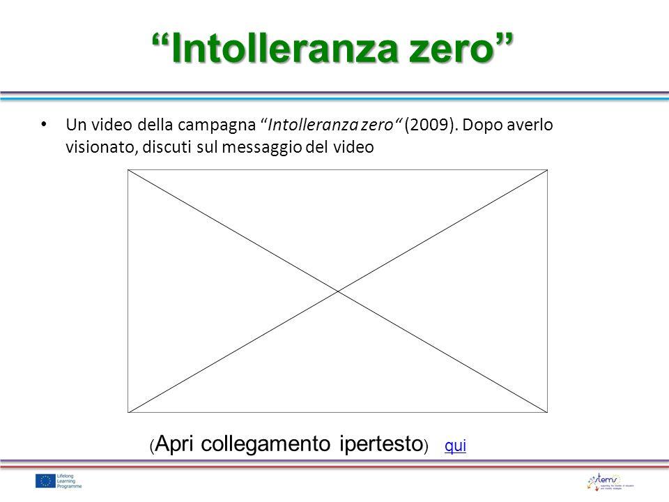 Intolleranza zero Un video della campagna Intolleranza zero (2009). Dopo averlo visionato, discuti sul messaggio del video ( Apri collegamento ipertes