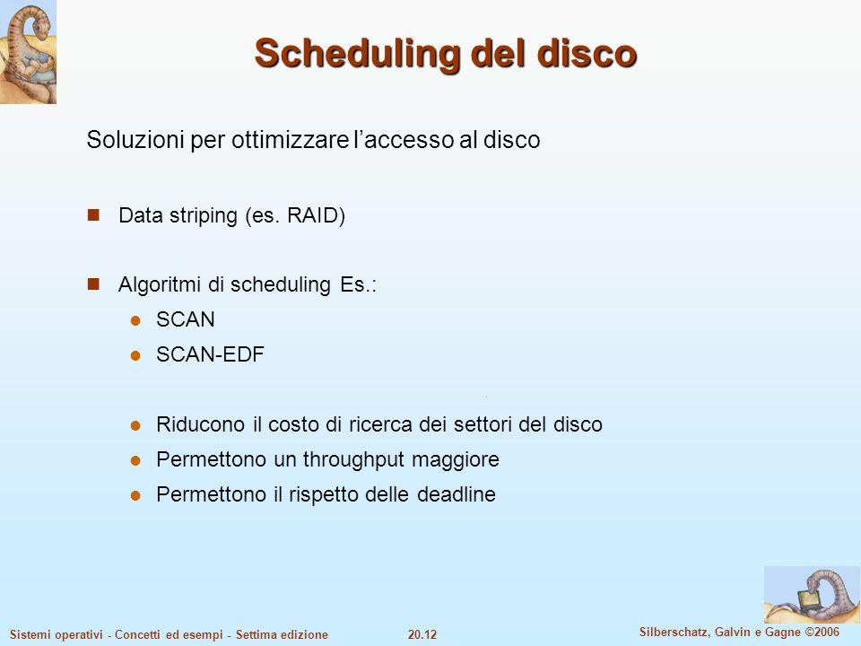 20.12 Silberschatz, Galvin e Gagne ©2006 Sistemi operativi - Concetti ed esempi - Settima edizione Scheduling del disco Soluzioni per ottimizzare lacc