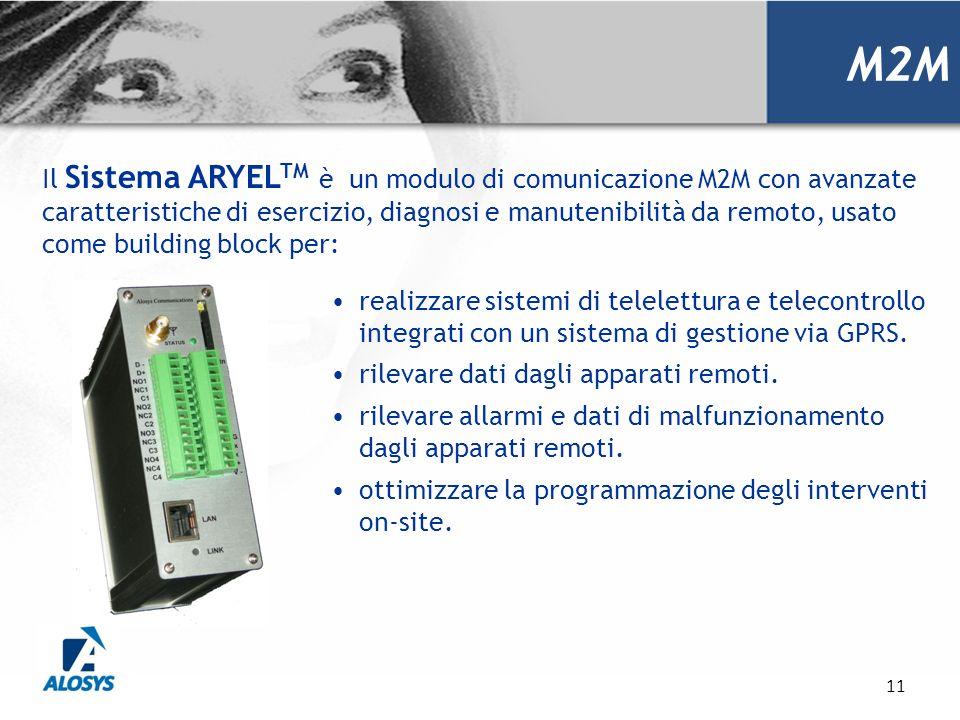 11 Il Sistema ARYEL TM è un modulo di comunicazione M2M con avanzate caratteristiche di esercizio, diagnosi e manutenibilità da remoto, usato come bui