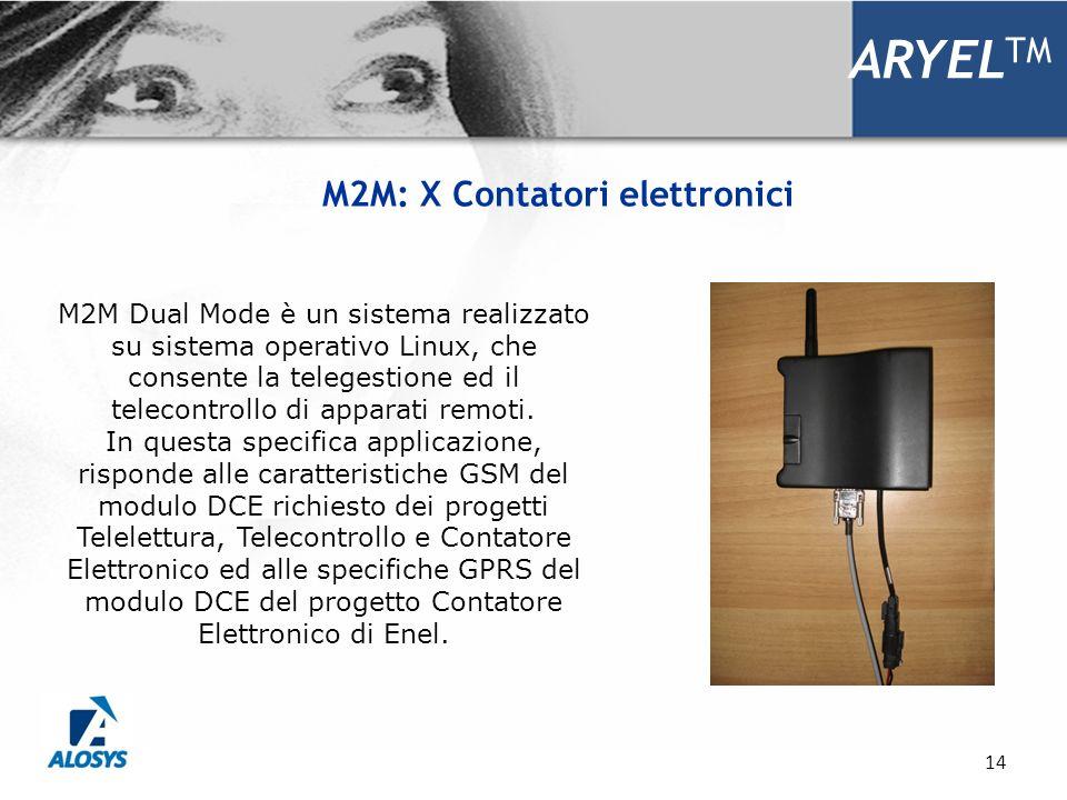 14 ARYEL TM M2M: X Contatori elettronici M2M Dual Mode è un sistema realizzato su sistema operativo Linux, che consente la telegestione ed il telecont