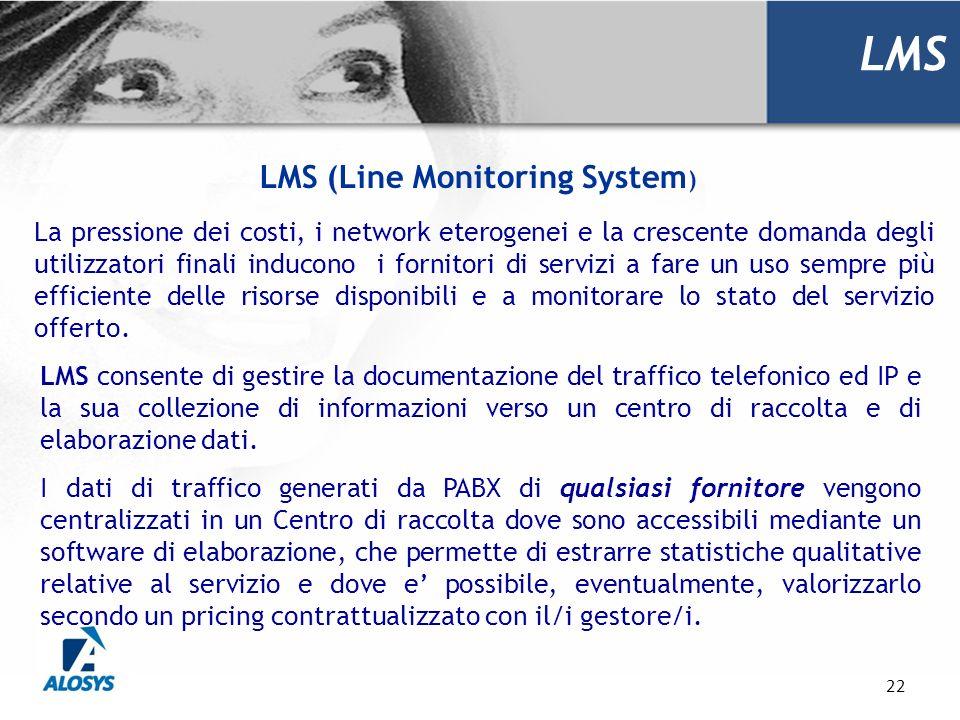 22 LMS LMS (Line Monitoring System ) La pressione dei costi, i network eterogenei e la crescente domanda degli utilizzatori finali inducono i fornitor