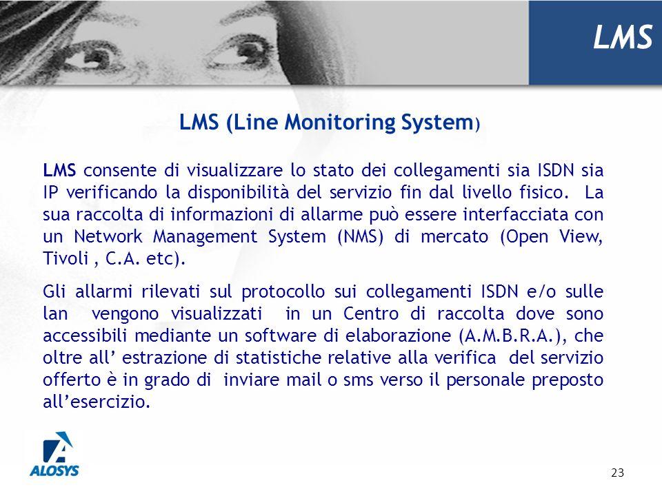 23 LMS LMS consente di visualizzare lo stato dei collegamenti sia ISDN sia IP verificando la disponibilità del servizio fin dal livello fisico. La sua