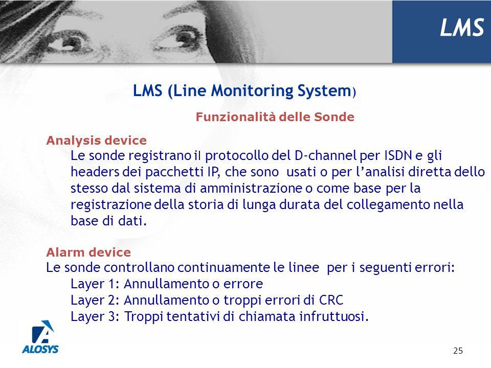 25 LMS Funzionalità delle Sonde Analysis device Le sonde registrano i l protocollo del D-channel per ISDN e gli headers dei pacchetti IP, che sono usa