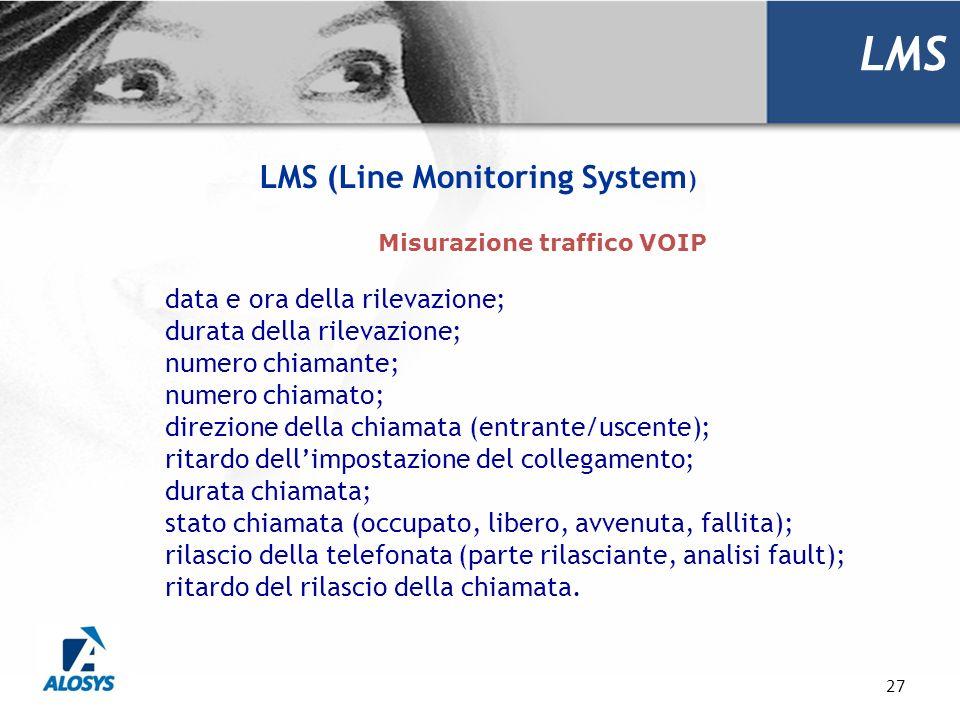 27 LMS LMS (Line Monitoring System ) data e ora della rilevazione; durata della rilevazione; numero chiamante; numero chiamato; direzione della chiama