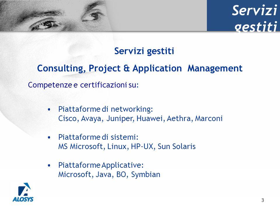 3 Servizi gestiti Competenze e certificazioni su: Piattaforme di networking: Cisco, Avaya, Juniper, Huawei, Aethra, Marconi Piattaforme di sistemi: MS