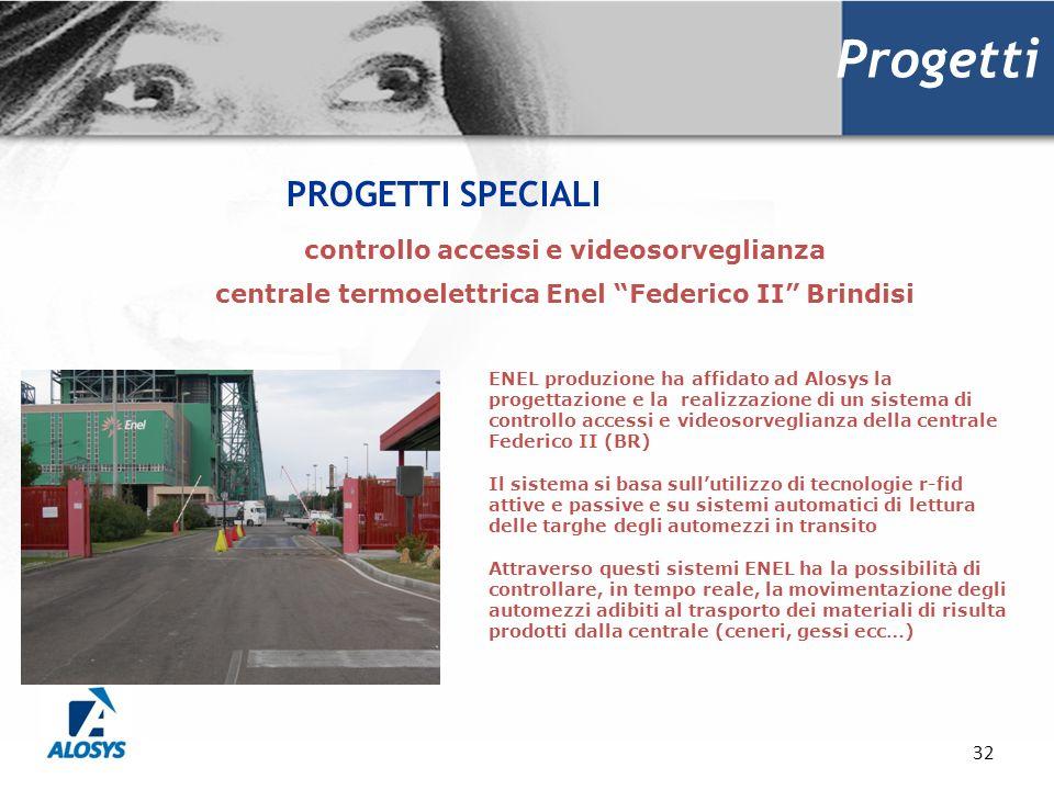 32 Progetti PROGETTI SPECIALI controllo accessi e videosorveglianza centrale termoelettrica Enel Federico II Brindisi ENEL produzione ha affidato ad A