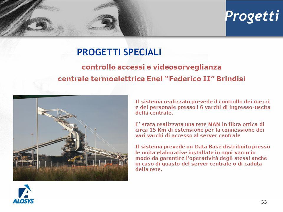 33 Progetti PROGETTI SPECIALI Il sistema realizzato prevede il controllo dei mezzi e del personale presso i 6 varchi di ingresso-uscita della centrale