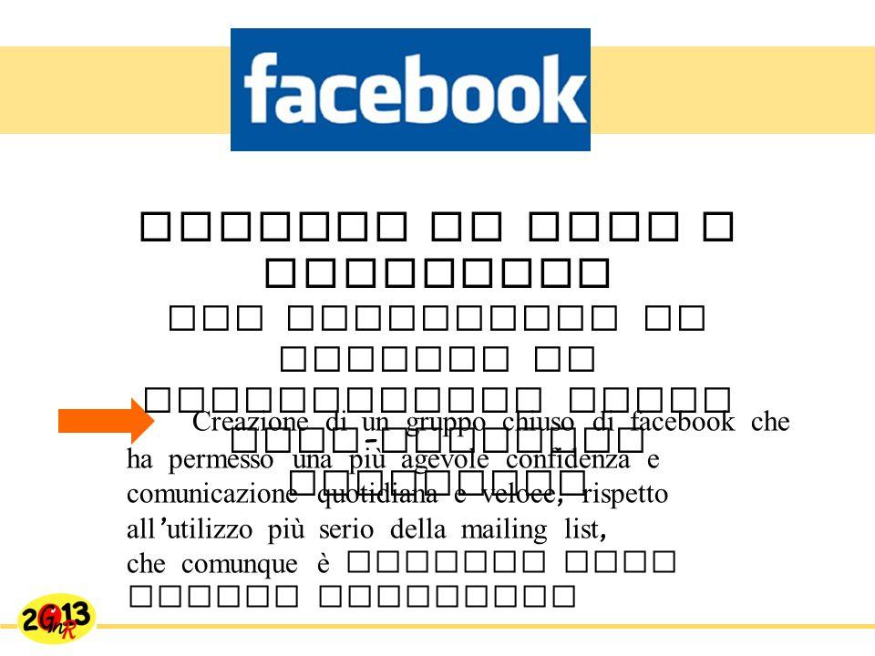 Creazione di un gruppo chiuso di facebook che ha permesso una più agevole confidenza e comunicazione quotidiana e veloce, rispetto all utilizzo più serio della mailing list, che comunque è rimasta come canale ufficiale mettere in rete i referenti per proseguire lo scambio di informazioni anche post - incontro referenti