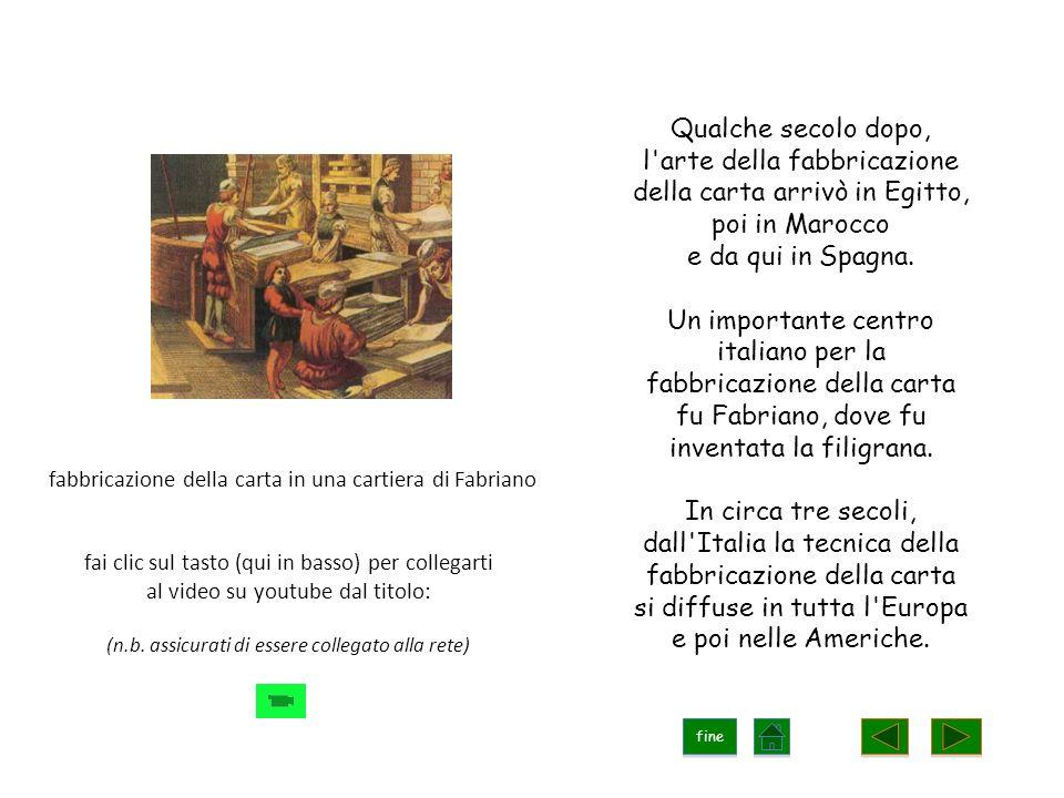 Qualche secolo dopo, l arte della fabbricazione della carta arrivò in Egitto, poi in Marocco e da qui in Spagna.