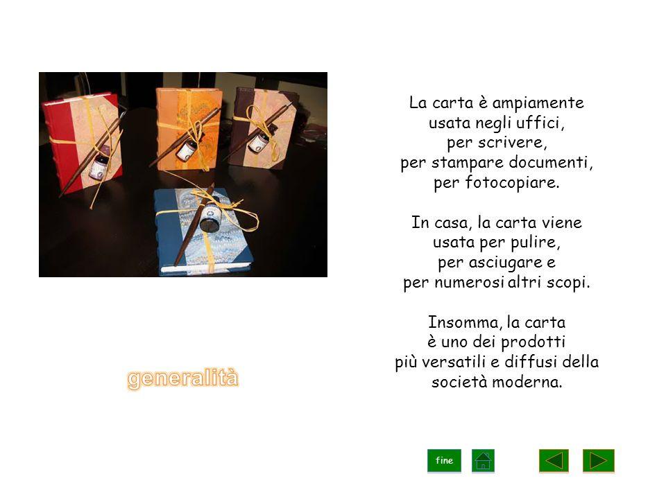 La carta è ampiamente usata negli uffici, per scrivere, per stampare documenti, per fotocopiare.