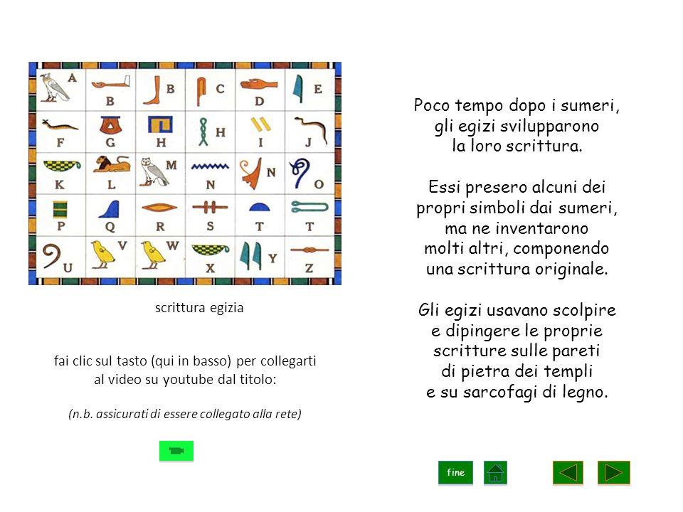 Poco tempo dopo i sumeri, gli egizi svilupparono la loro scrittura.