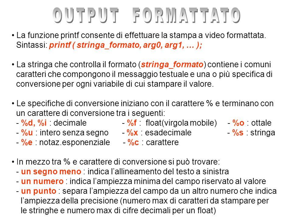 La funzione printf consente di effettuare la stampa a video formattata. Sintassi: printf ( stringa_formato, arg0, arg1, … ); La stringa che controlla