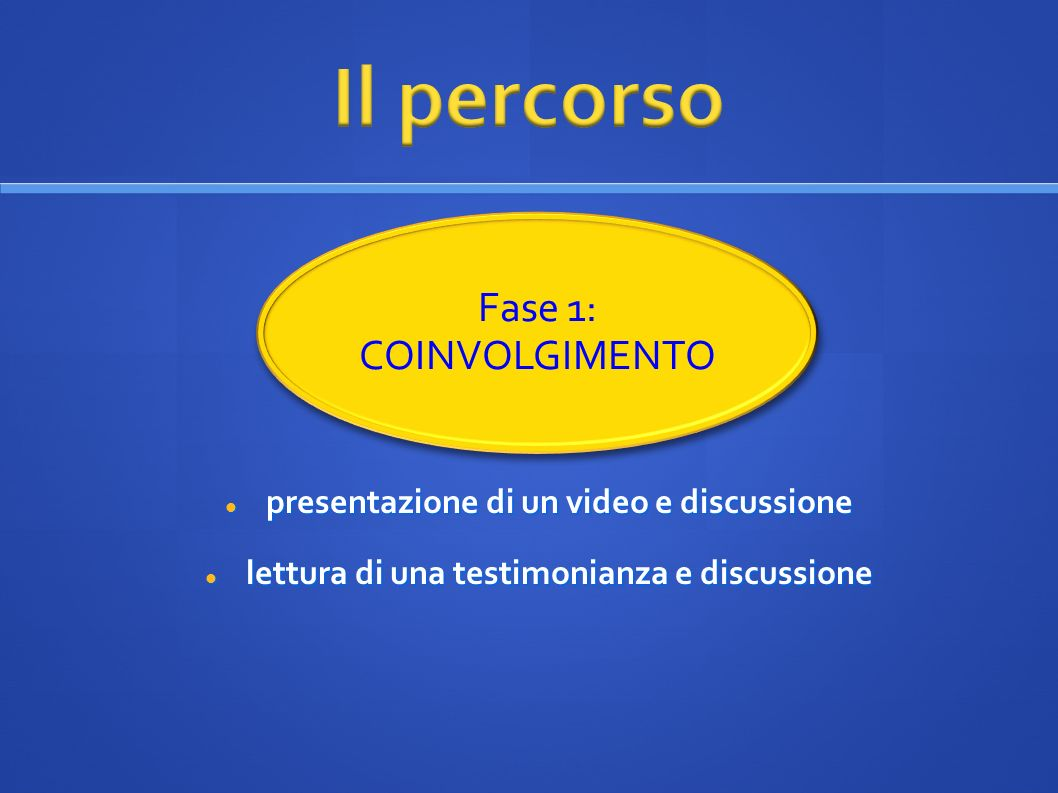 presentazione di un video e discussione presentazione di un video e discussione lettura di una testimonianza e discussione lettura di una testimonianz
