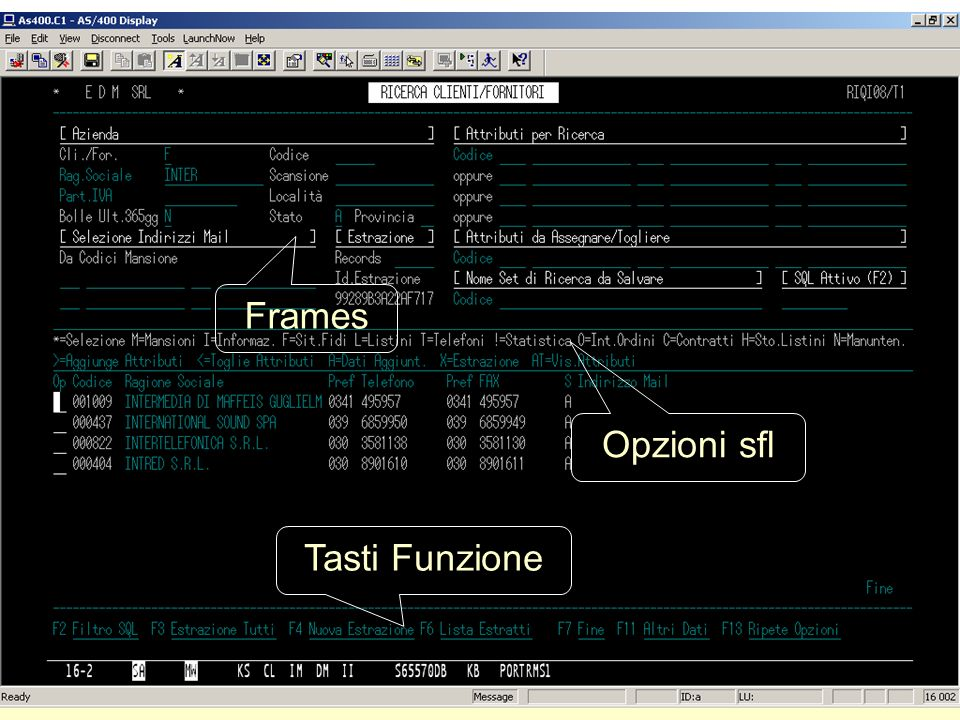 Frames Opzioni sfl Tasti Funzione