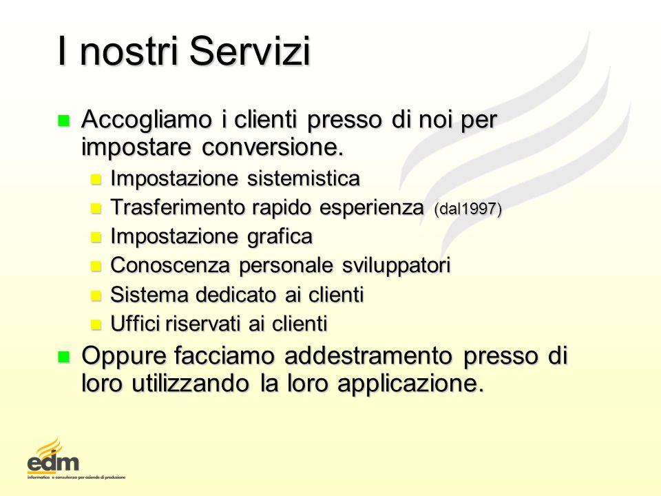 I nostri Servizi n Accogliamo i clienti presso di noi per impostare conversione. n Impostazione sistemistica n Trasferimento rapido esperienza (dal199