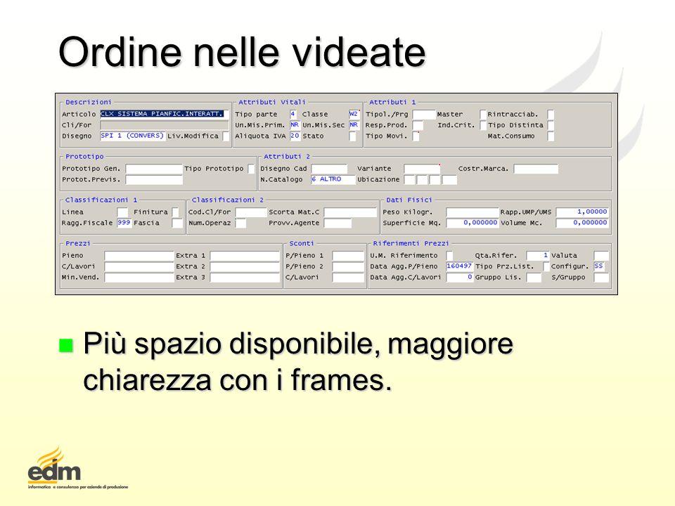 Ordine nelle videate n Più spazio disponibile, maggiore chiarezza con i frames.