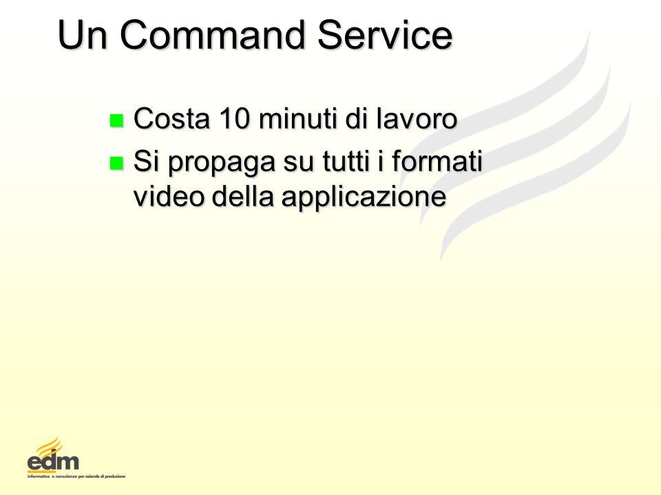 Un Command Service n Costa 10 minuti di lavoro n Si propaga su tutti i formati video della applicazione