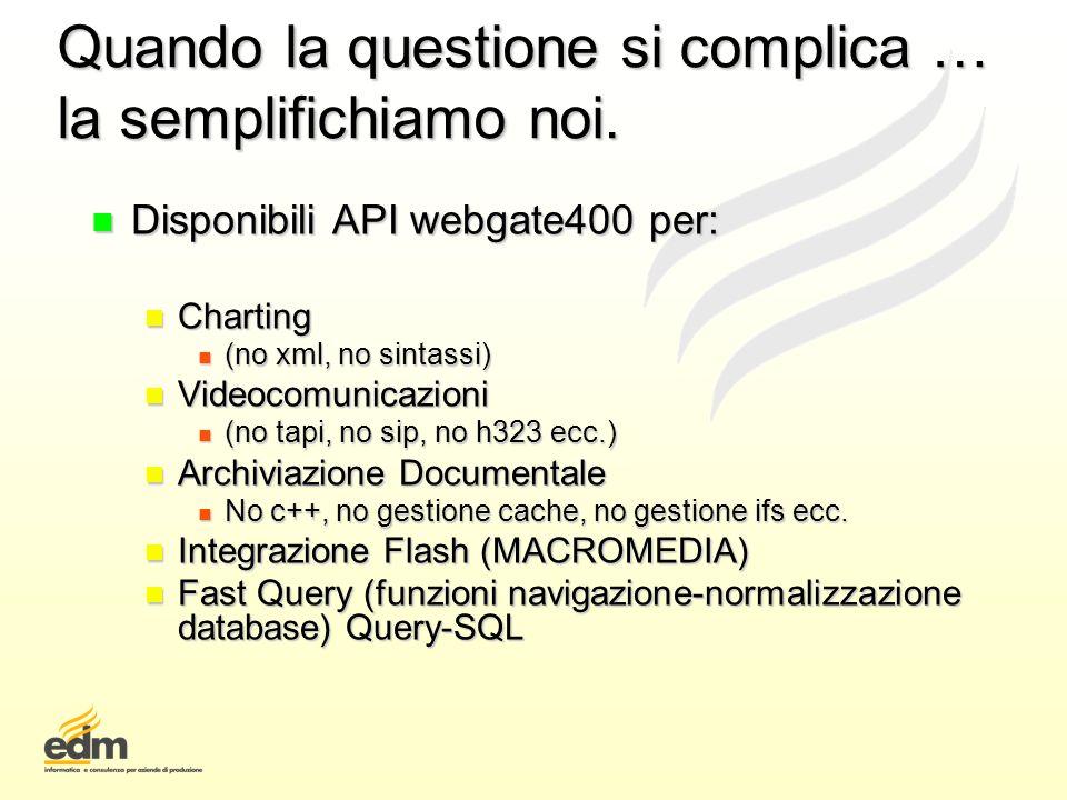 Quando la questione si complica … la semplifichiamo noi. n Disponibili API webgate400 per: n Charting n (no xml, no sintassi) n Videocomunicazioni n (