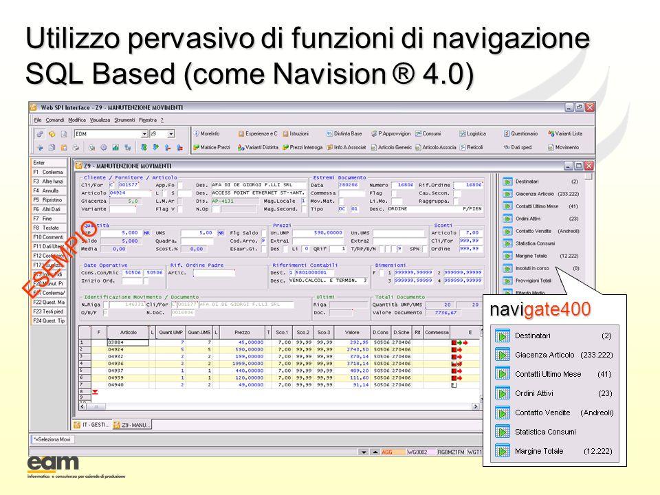 Utilizzo pervasivo di funzioni di navigazione SQL Based (come Navision ® 4.0) ESEMPIO navigate400
