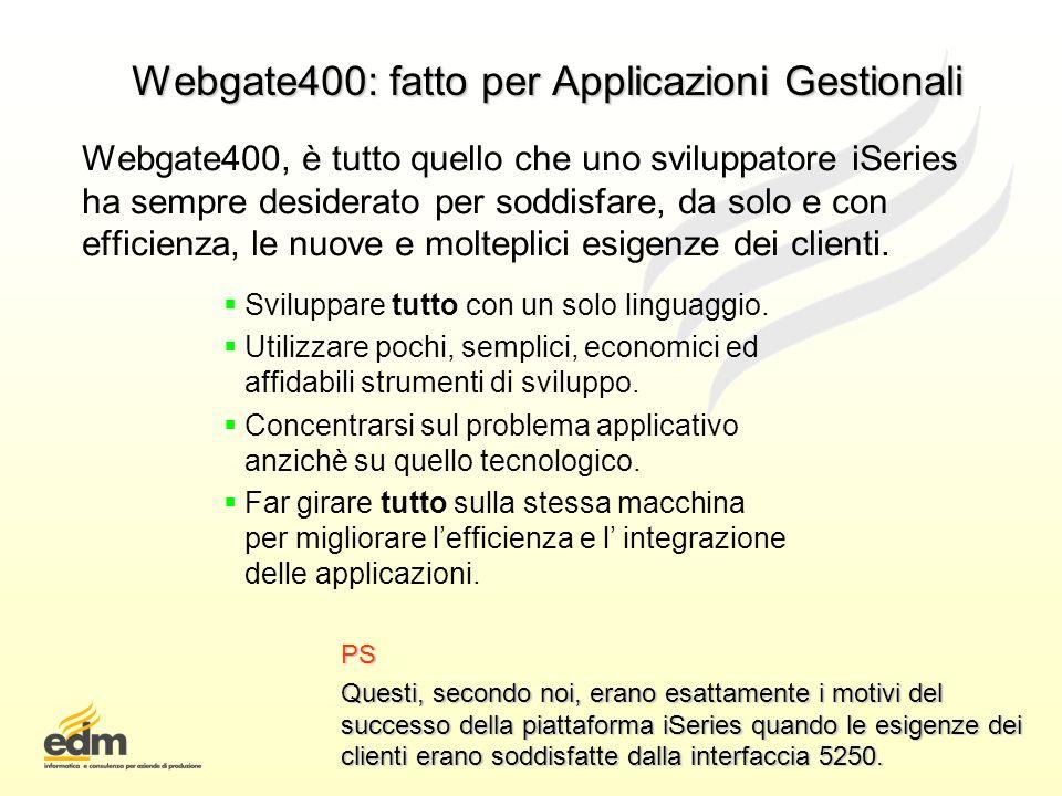 Webgate400: fatto per Applicazioni Gestionali Webgate400, è tutto quello che uno sviluppatore iSeries ha sempre desiderato per soddisfare, da solo e c