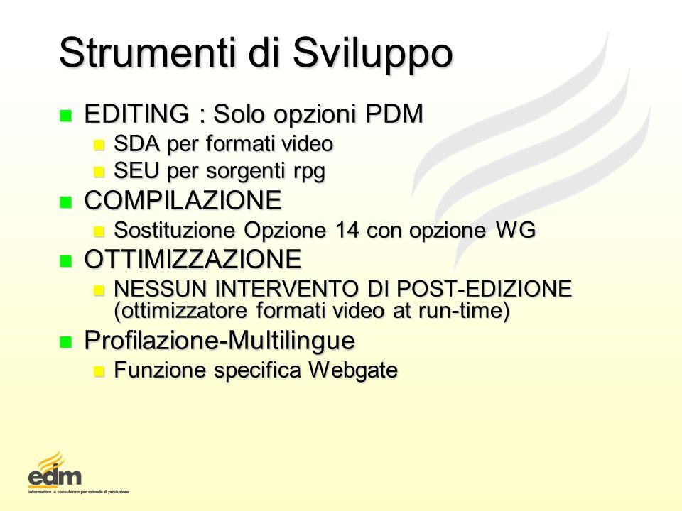 Strumenti di Sviluppo n EDITING : Solo opzioni PDM n SDA per formati video n SEU per sorgenti rpg n COMPILAZIONE n Sostituzione Opzione 14 con opzione