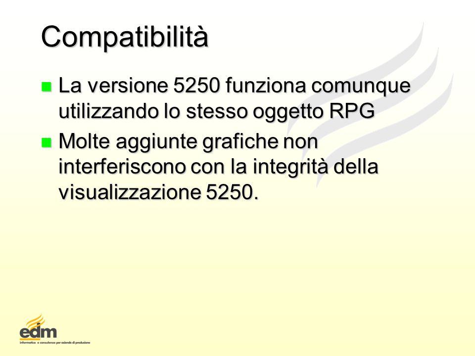Compatibilità n La versione 5250 funziona comunque utilizzando lo stesso oggetto RPG n Molte aggiunte grafiche non interferiscono con la integrità del
