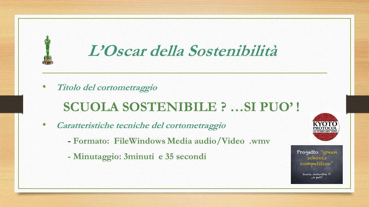 LOscar della Sostenibilità Titolo del cortometraggio SCUOLA SOSTENIBILE .