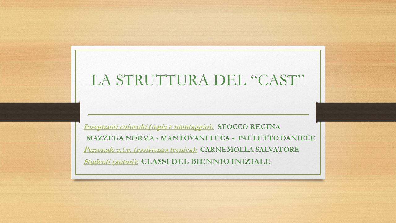 LA STRUTTURA DEL CAST Insegnanti coinvolti (regia e montaggio): STOCCO REGINA MAZZEGA NORMA - MANTOVANI LUCA - PAULETTO DANIELE Personale a.t.a.